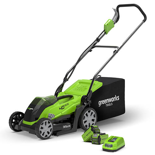 """40V 35cm (14"""") Cordless Lawnmower with 2 x 2Ah Battery & Charger"""