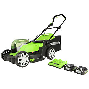 Greenworks 48V Lawnmower with 2 x 24V 2Ah Batteries & Charger - 41cm / 16inch